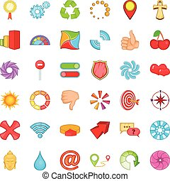 Computer graphic icons set, cartoon style - Computer graphic...
