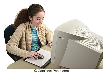 A teen girl doing computer graphics using a mouse and graphics tablet.