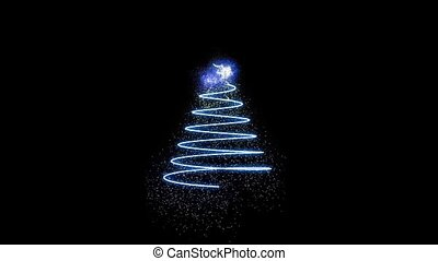 Computer graphics appearing colored Christmas tree in motion on black background HD 1920x1080