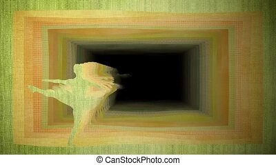 Computer graphics, ballerina doing pirouette against background of paper tunnel