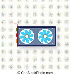 Computer graphics card on a digital background. Vector...