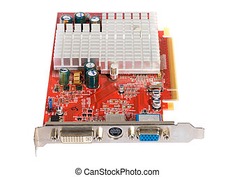 computer graphics card, photo on the white background