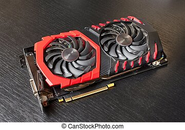 Computer graphics card with cooler fans