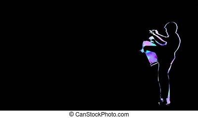 Computer graphics man doing capoeira. Outline on black...