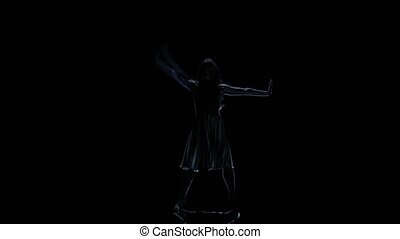 Computer graphics, neon shadows of girls dancing on black background