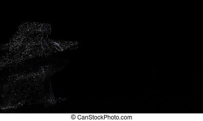Computer graphics of light particles in slow motion, fouette...