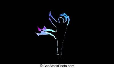 Computer graphics outline man doing kung fu on black...