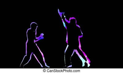 Computer graphics outline two man doing fight on black...