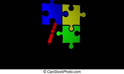 Computer graphics puzzle crashes and merges with another three puzzles. Black background