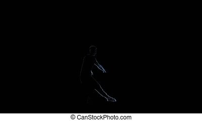 Computer graphics, silhouette man dance on black background....
