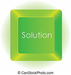 computer green key, isolated on white background, vector illustration
