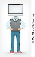 Computer Guy Isolated on Grey Gradient Background. Vector...
