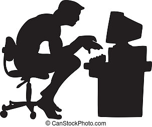 Computer Guy Silhouette - Silhouette of naked guy at a...