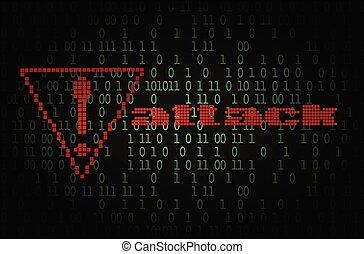 Computer hacker attack notification vector illustration
