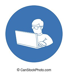 Computer hacker icon in outline style isolated on white background. Hackers and hacking symbol stock vector illustration.
