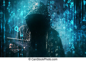 Computer hacker with hoodie in cyberspace surrounded by...