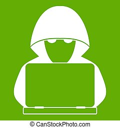 Computer hacker with laptop icon green