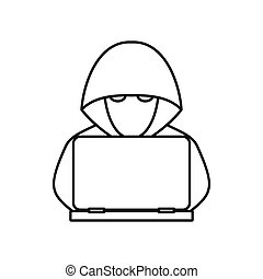 Computer hacker with laptop icon, outline style
