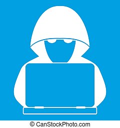 Computer hacker with laptop icon white