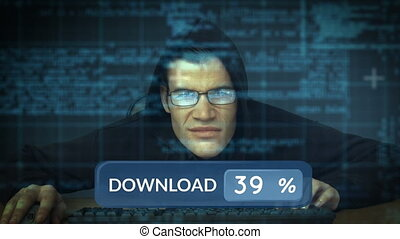 Computer hacker working on computer codes