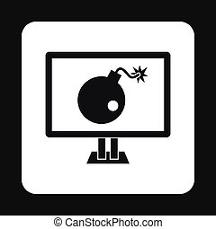 Computer hacking icon, simple style