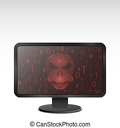 Computer hacking.Glowing red skull on a screen