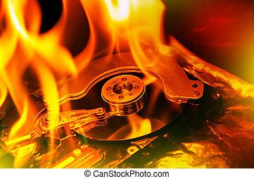 Computer hard disk burning - Close up image of computer hard...