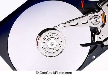 Computer hard disk on a white background. The disc is...
