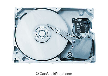 Computer Hard Disk in Blue Tone on White background