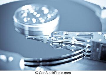 computer hard drive - close up of hard disk