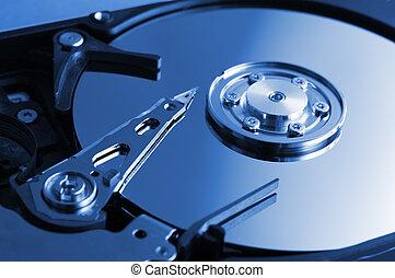 Computer hard drive in blue tone