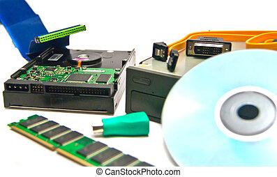 computer Hardware close-up on white background