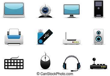 A group of IT hardwares icons which include screen, cpu, printing devices, storage, and controller devices.