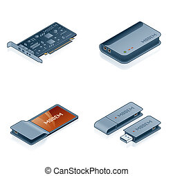 Computer Hardware Icons Set - Design Elements 55m