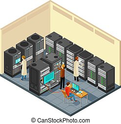 Computer hardware in network server room with staff. Isometric security center vector illustration. Database server network internet