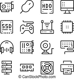 Computer hardware line icons set. Modern graphic design concepts, simple outline elements collection. Vector line icons