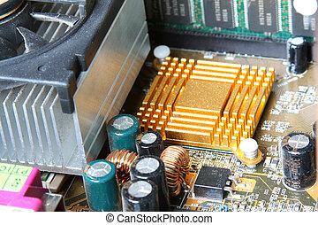 Computer Hardware. Motherboard, CPU cooler.