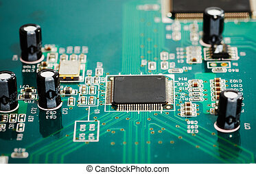 Computer hardware. Technology and pc electronics background.