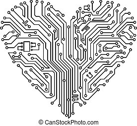Computer heart with motherboard elements for technology...