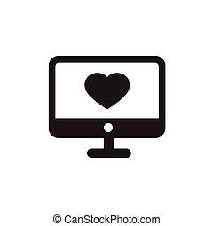 computer, hjerte, desktop