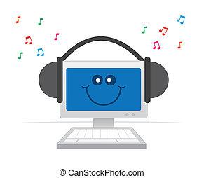 computer, hovedtelefoner, glade