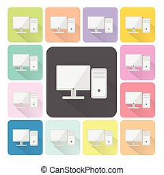 Computer Icon color set vector illustration
