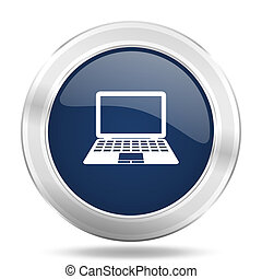 computer icon, dark blue round metallic internet button, web and mobile app illustration