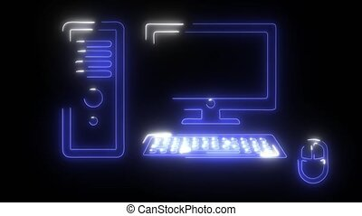 Computer icon digital animation video