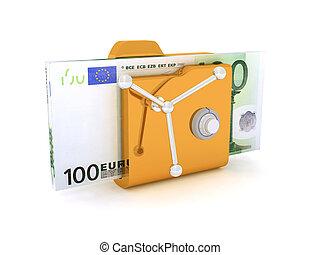 Computer icon for secure folder safe Pack 100 Euro Banknotes 3D illustration