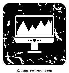 Computer icon, grunge style