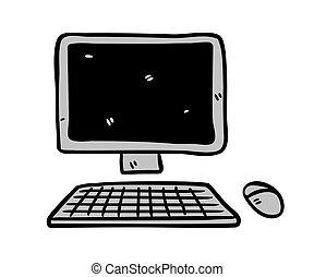 Computer icon in doodle style