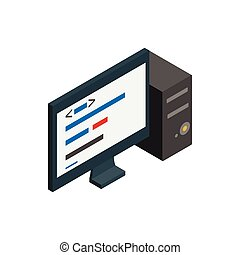 Computer icon, isometric 3d style