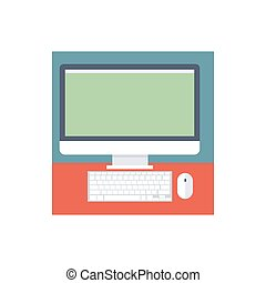 Computer icon on a white background. Vector illustration