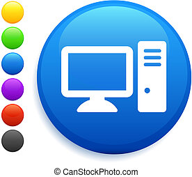 computer icon on round internet button original vector illustration 6 color versions included